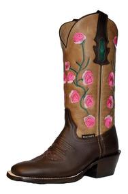 encontrar el precio más bajo diseño elegante fuerte embalaje Bota Vaquera Mujer Punta Cuadrada Tubo Bordado Rosas Billy Boots