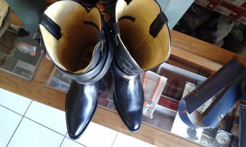 bota vaquera piel venado italiano negra rudell