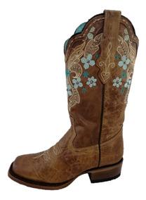 gran selección estilos de moda nueva productos Bota Vaquera Punta Rodeo Para Dama De Piel Marca Nokota Horse Color  Mantequilla Con Bordados En Tubo De Flores