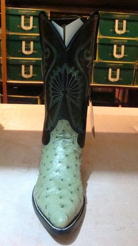 bota vaquera y cinto avestruz original verde