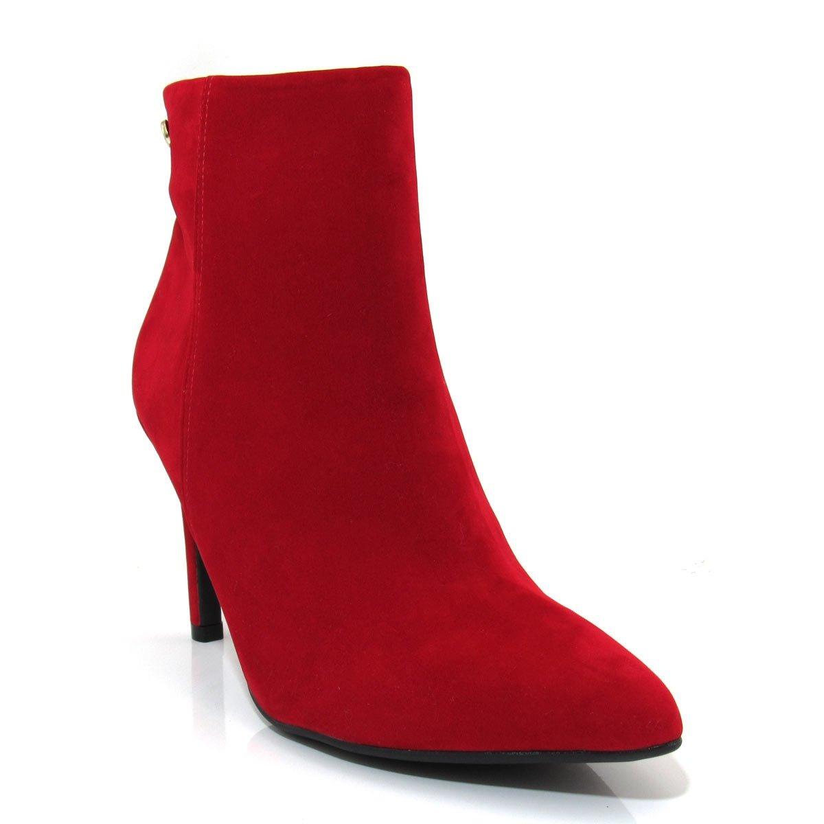 2d0c2bf418 bota vermelha cano curto feminina bico fino vizzano 3049219. Carregando  zoom.