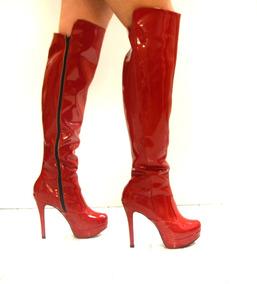 e87d8869d Bota Over Knee Vermelha Feminino - Sapatos no Mercado Livre Brasil