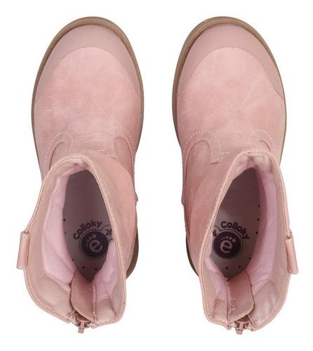 bota vestir rosado caña alta con cierre niña colloky