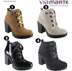 efd7c4076 Bota Feminina Coturno Preta Via Marte 1719902 - Calçados, Roupas e Bolsas  com o Melhores Preços no Mercado Livre Brasil