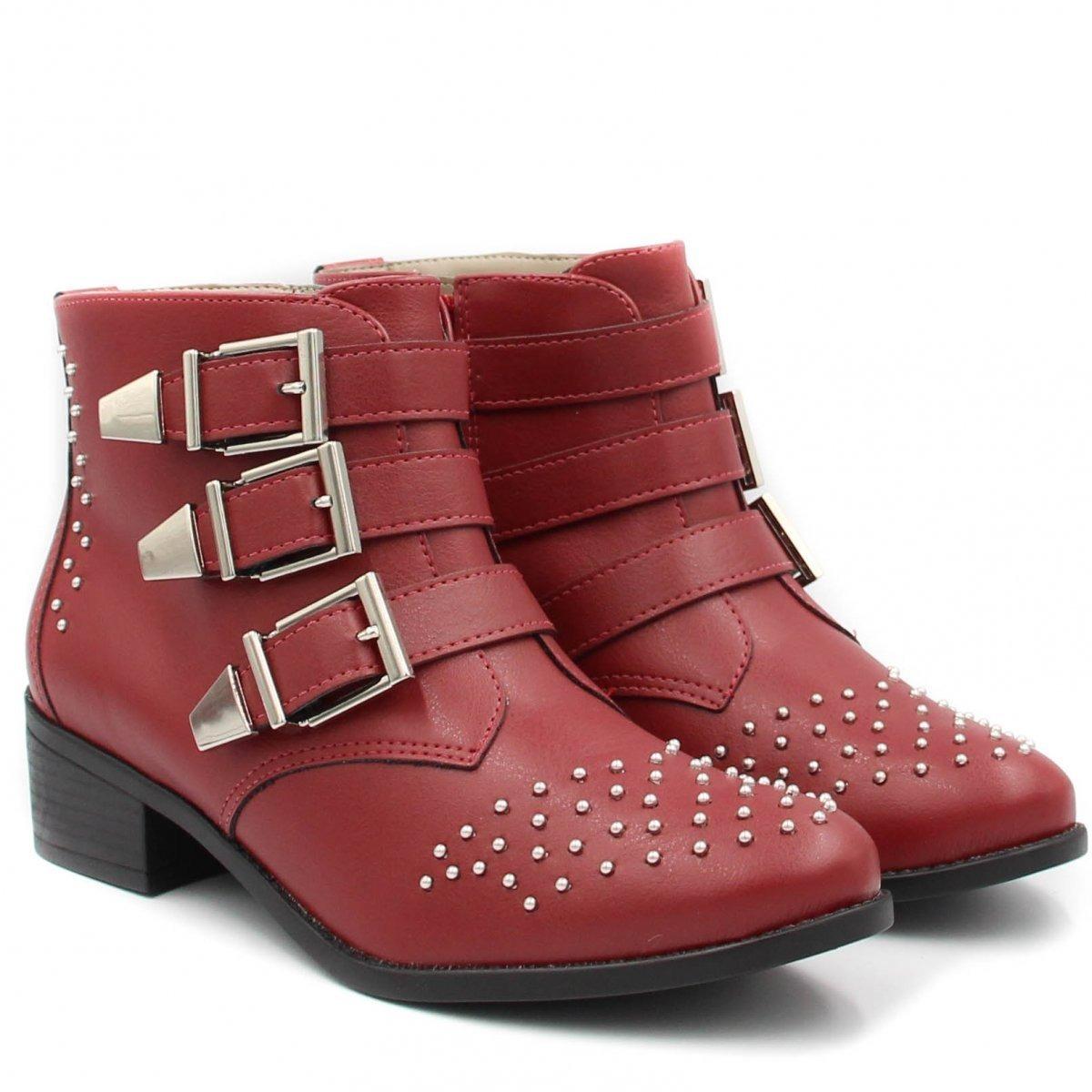 1e010d4202d42 Bota Cano Curto Via Marte Ankle Boot Vermelha 18-4603
