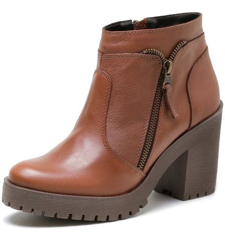 bota zart coturno tratorada couro legitimo feminino cano