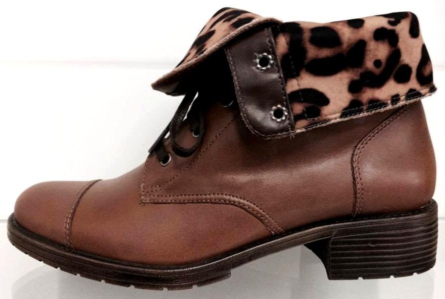 f5d2c06b8 bota/coturno feminino couro caramelo/marrom onça 2 em 1 parô. Carregando  zoom.