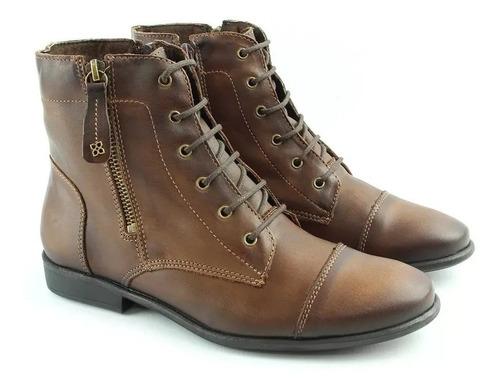 bota/coturno perlatto f633 couro legítimo pinhão original