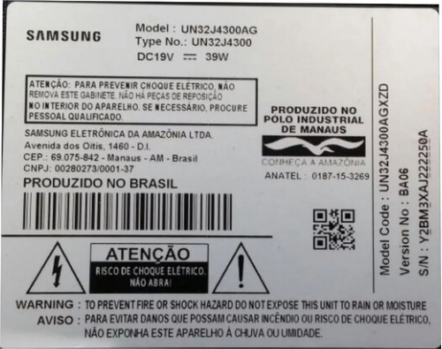 botao power + wifi original - tv samsung un32j4300ag