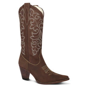 bd3be30238 Bota Country Texana Couro Nobuck Feminina Silverado Cafe