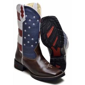 cf0e60922543d Bota Masculina Texana Country Bandeira Americana Couro Eua