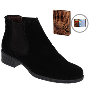 8b2af10f39 Botina Chelsea Boots Caramelo Feminina Em Couro + Brinde