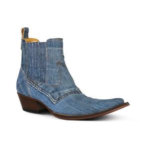 89ec853c4b Botina Country Silverado Tecido Jeans Solado Couro Masculina