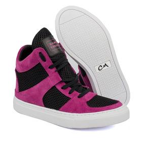 a8cf0d02ca0 Tênis Snearkers Cano Alto Feminino Em Couro Cheia De Marra