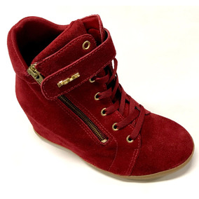 447ba5392f3 Bota Feminina Sneaker Quiz Salto Embutido 8 Cm Camurça