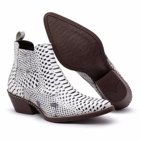eac62b2f5f Botina Couro De Cobra Bico Quadrado Botas - Sapatos para Masculino ...