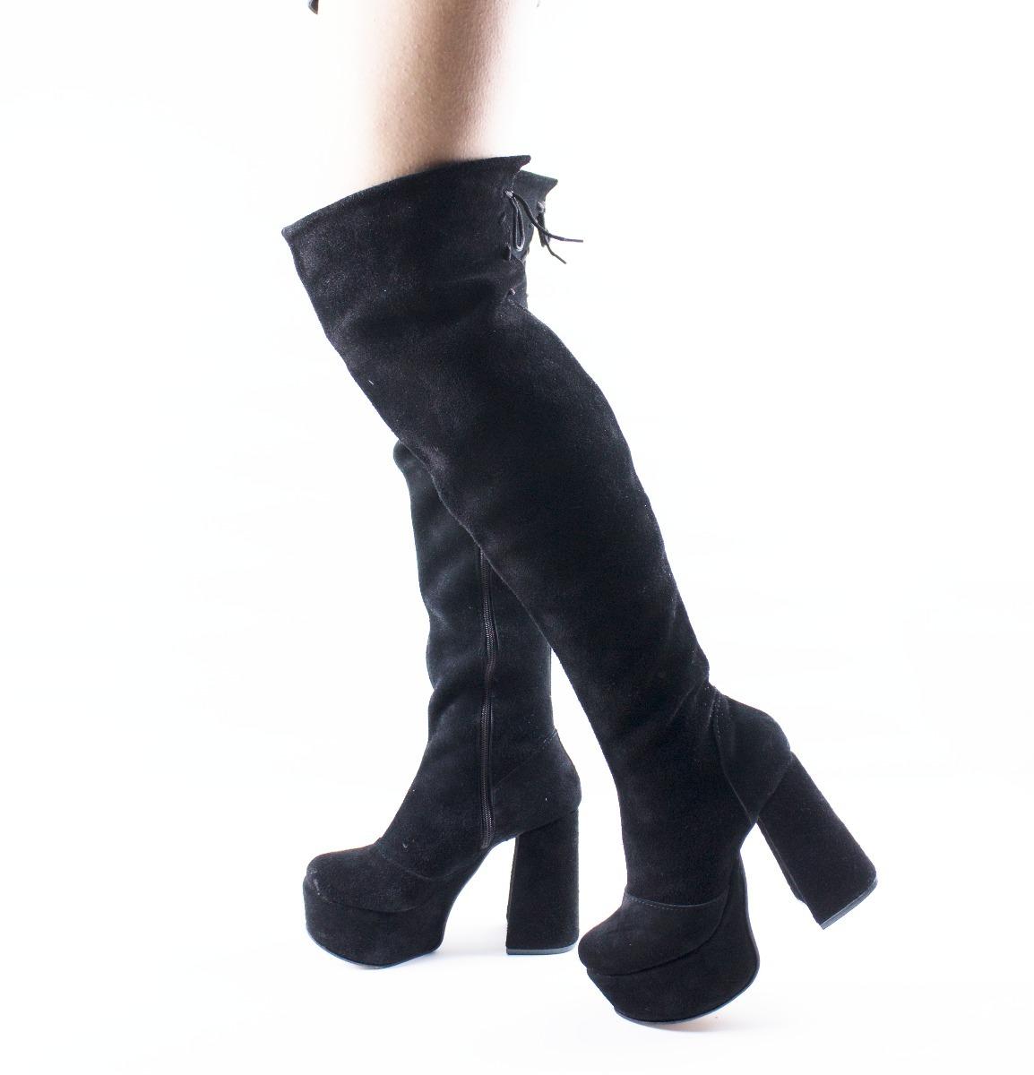f18bc4ab9 botas altas mujer bucaneras plataforma caña alta gamuzadas. Cargando zoom.
