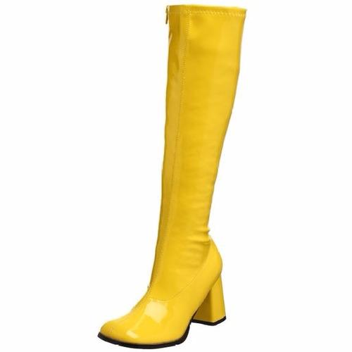 botas amarillas disco gogo 60's 70's retro para damas