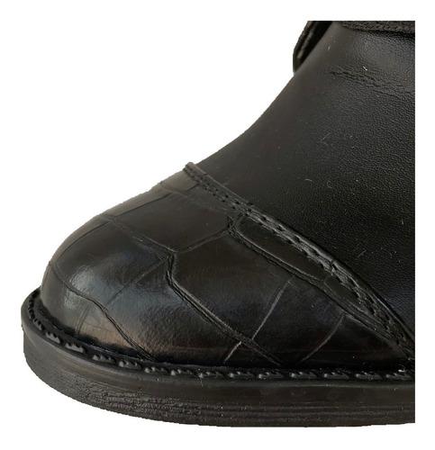botas botín con cierre y agujeta mujer moda negro mu 2006