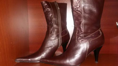 botas botin damas cuero marrones marca jan piers talla 38
