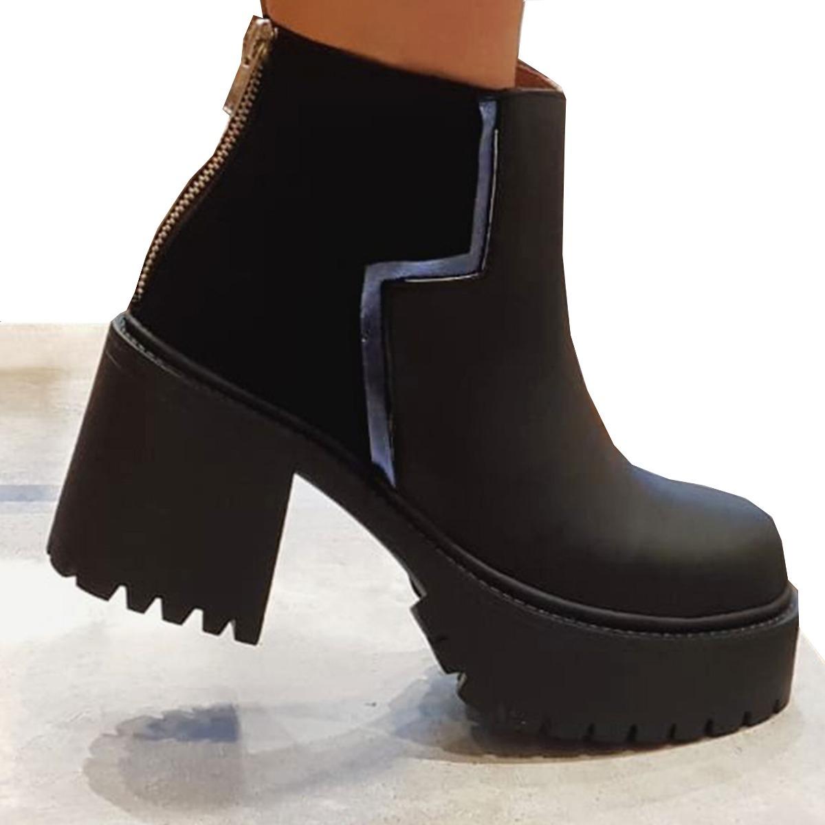 3828a355 Botas Botineta Zapatos Con Taco Bajo Mujer Moda 2018 - $ 2.899,00 en ...