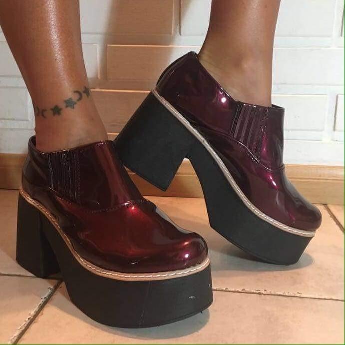 57b328cf Botas Botineta Zapatos Plataforma Mujer Charol Moda 2018 - $ 765,00 ...