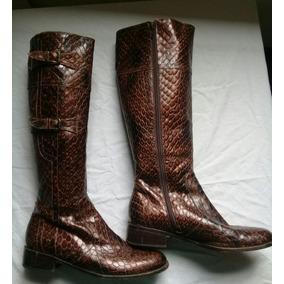 0f5d1064ba9 Botas Reptil Serpiente Víbora Cuero Caña Alta Y Taco - Zapatos de ...