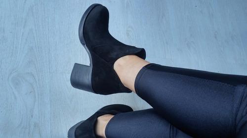 botas botinetas cuero gamuzon mujer