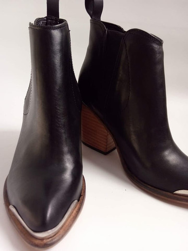 botas botinetas texanas con elásticos laterales cuero vacuno