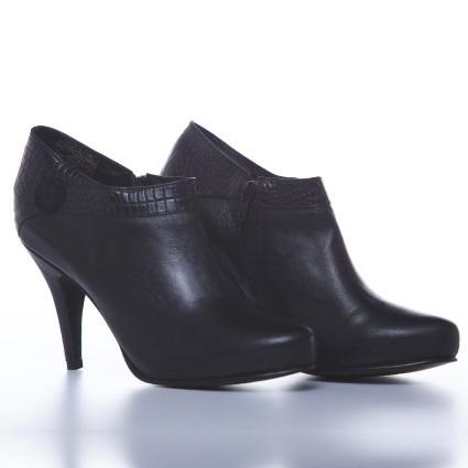 botas bottier mujer cuero, modelo botin, napa negro
