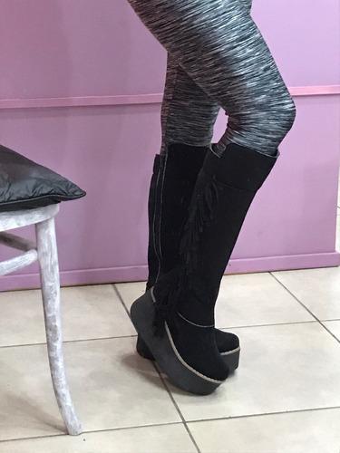 botas bucaneras negras con flecos 2017 nuevas