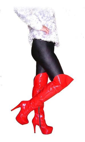 botas bucaneras talle 42 charol en color rojo plataforma