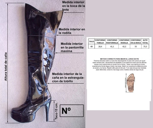 botas bucaneras talle 43 charol color negro con plataforma