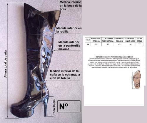botas bucaneras talle 44 en charol color negro plataforma