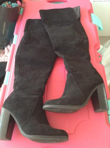 botas bucaneras via uno talla 39 gamuza taco alto negras