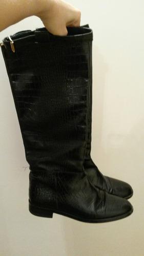 botas caña alta montar cuero croco genuino negras febo zara
