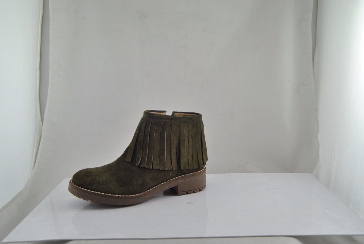d6da6e144 botas caña baja flecos verde militar cuero descarne mujer. Cargando zoom.