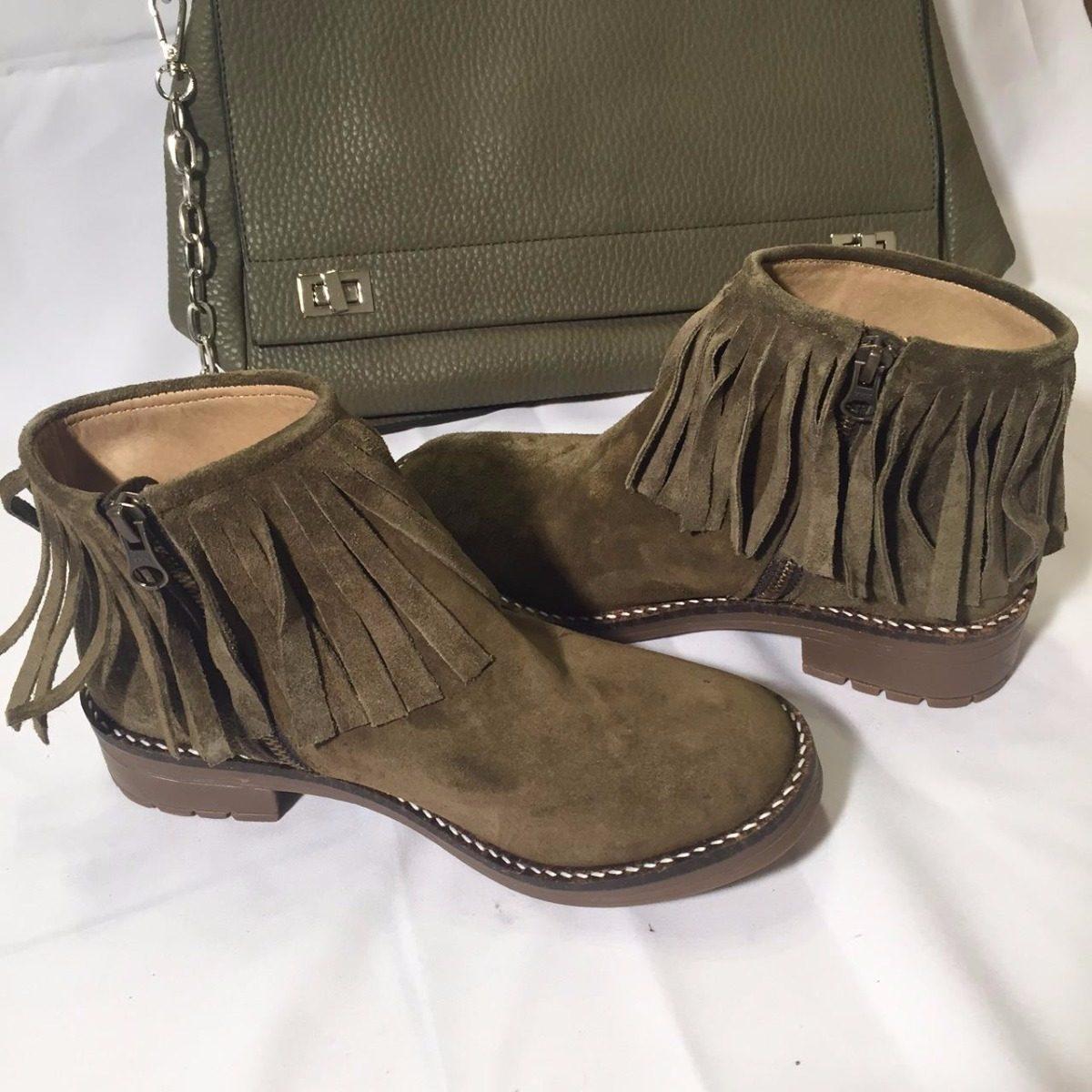 5b00b16c287 botas caña baja flecos verde militar cuero descarne mujer. Cargando zoom.