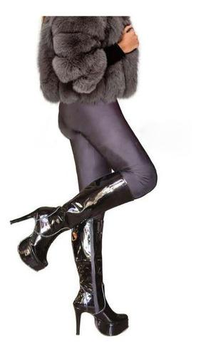botas caña rodilla talle 43 charol color negro plataforma