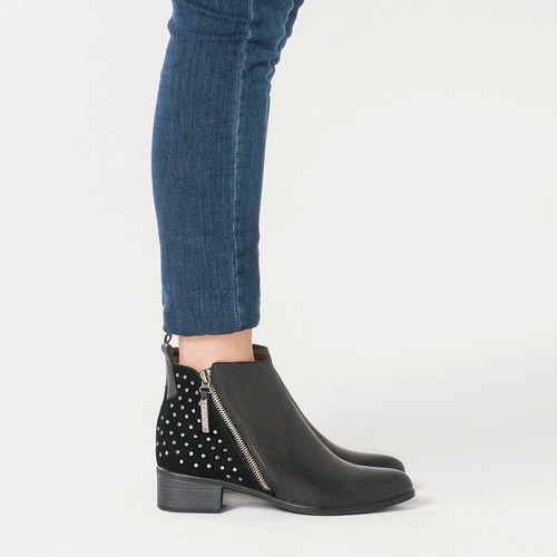 botas cavatini botitas mujer vestir doble cierre y tachas caña corta cuero vacuno