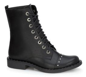 Botas Cortas Andrea Tipo Militar Negras Para Mujer Botines