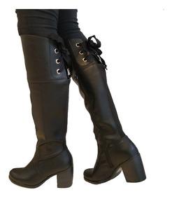 77c83973 Botas Cuero Caña Alta Con Cordones Comodas Mujer Eu17-103