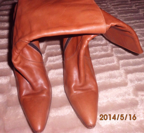 botas cuero legitimo marron botines 37 forradas c/ nuevas