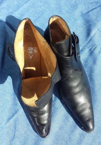 botas cuero negras caña corta, taco chino t38 - impecables!