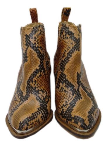 botas cuero vacuno botinetas reptil blanco negro suela print