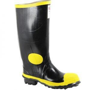 botas de caucho punta de acero royal negras linea amarilla