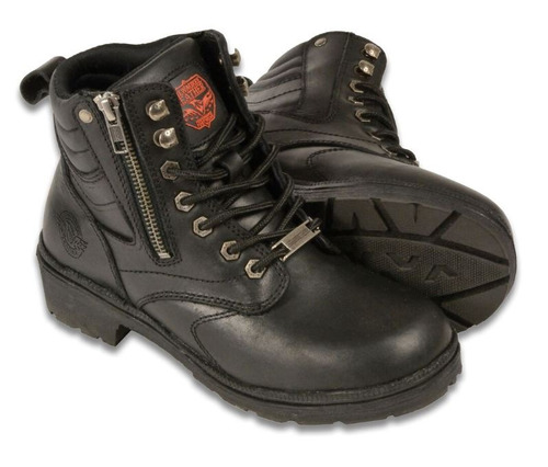 botas de cuero milwaukee p/mujer cierre lat. punta plana 5