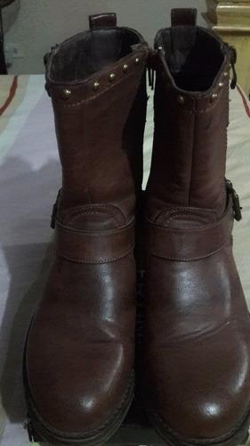 botas de cuero para dama color marron importadas