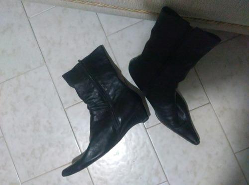 botas de cuero para dama talla 37 en negro