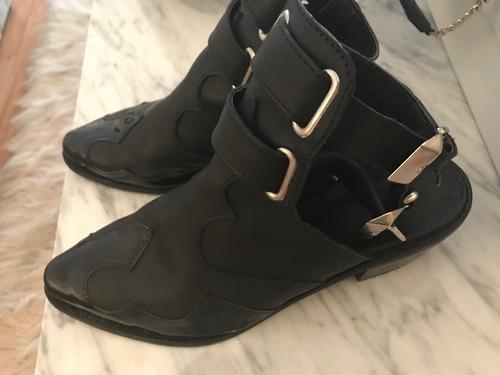 botas de cuero sin tobillo negras muy rockeros! importadas!
